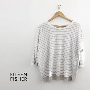 EILEEN FISHER Organic-Linen Blend Striped Sweater